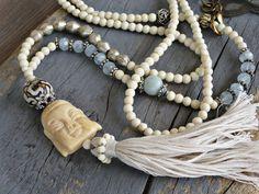 Meditation necklace wrap. Mala yoga jewelry Long by BeadStonenSkin, €65.77