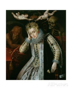 The Allegorical Portrait of Queen Elizabeth I with Father Time at her right and Death looking over her left shoulder. Two cherubs are removing the weighty crown from her tired head. Painted after Artist unknown. Elizabeth I, Tudor History, European History, British History, Memento Mori, Dinastia Tudor, Mary Tudor, Isabel I, Post Mortem