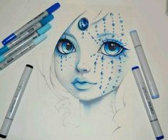 Pretty drawings of girls, amazing drawings, cute drawings, amazing art, art Marker Kunst, Marker Art, Cute Drawings, Tattoo Drawings, Pretty Drawings Of Girls, Amazing Drawings, Beautiful Drawings, Beautiful Pictures, Bel Art