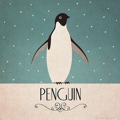 Penguin Print Original Design Animal Alphabet by RedGateArts, Penguin Parade, Penguin Art, Penguin Love, Cute Penguins, Art Deco Posters, Vintage Posters, Pinguin Illustration, Design Alphabet, Alphabet Poster