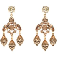 Oscar de la Renta Swarovski Crystal Chandelier Earrings (€180) ❤ liked on Polyvore featuring jewelry, earrings, jewels, chandelier earrings, clip earrings, clip on chandelier earrings, long earrings and clip on earrings