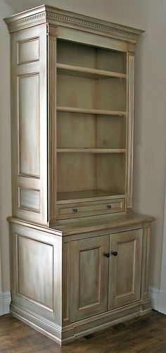 Cabinet painted with four drybrushed shades of Modern Masters Metallic Paints | By Suzanne Pratt
