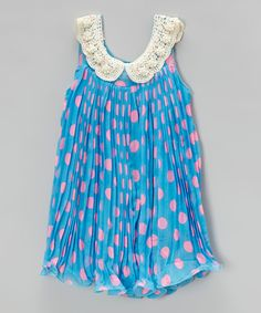 This Blue & Pink Dot Pleated Yoke Dress - Infant, Toddler & Girls by Blossom Couture is perfect! #zulilyfinds