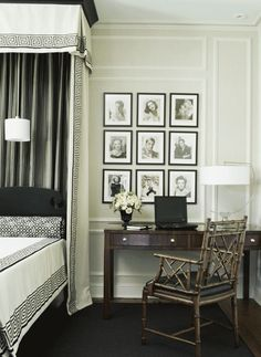 Mario Buatta: Fifty Years of American Interior Decoration Creative Interior Design Bedroom Great DIY and home decoration Big Living Rooms, Living Room Images, Beautiful Bedrooms, Beautiful Interiors, Glamorous Bedrooms, Wainscoting Styles, Wainscoting Height, Wainscoting Bathroom, Black Headboard
