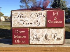 Personalized family name stacker primitive wood block set wedding anniversary housewarming gift home decor parents and kids names