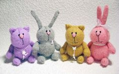 Рукоделие | Handmade: Забавные зайки и котики, вязанные спицами. Описание.Прибавка: из одной петли вывязываем две, за...