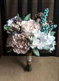 """Polymer clay bride's bouquet / Свадебные цветы ручной работы. Букет невесты """"Бирюза и шоколад"""". Андреева Яна. Ярмарка Мастеров. Букет невесты"""