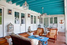 Exterior Photography - beach-style - Porch - Charleston - Patrick Brickman - turquoise blue porch ceiling beams joists