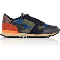 Valentino Women's Rockrunner Sneakers (46.905 RUB) ❤ liked on Polyvore featuring shoes, sneakers, dark grey, leather lace up sneakers, multi colored sneakers, lace up shoes, lace up sneakers and camouflage sneakers