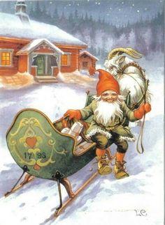 Vintage Swedish Christmas Card by Lars Carlsson ~ Orange Accents Swedish Christmas, Old Christmas, Old Fashioned Christmas, Christmas Gnome, Scandinavian Christmas, Retro Christmas, Christmas Greetings, Christmas Postcards, Primitive Christmas