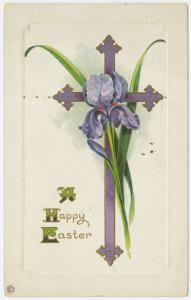 Easter/ vintage card/ cross & purple iris  I have several vintage Easter Cards.  Deb