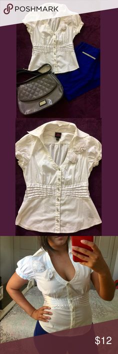 2B Bebe White Button Down Blouse Only worn once, no flaws and all buttons included. Great for a night out and can be dressed up to look professional for work. Trying to clear out my closet, open to offers but nothing low balled. Bundle with another item and get 15% whole purchase. 2B Bebe Tops Button Down Shirts