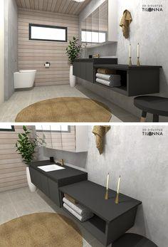 Uudiskohteen 3D-sisustussuunnittelu/ musta, hiilenharmaa wc:n kiintokalusteet, puupaneeliseinä, betoniseinä kullanvärinen hana, seinä wc/ 3D-sisustus Tilanna