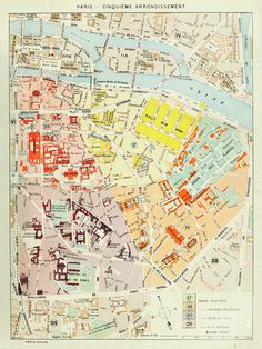 Map of Paris Cinquieme 5th Arrondissement by michaelellisstudios, $15.00