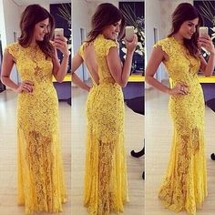 2015 New Lace Women Summer Dresses European and American Patchwork Hollow Out Tassel Halter Sexy Fashion Yellow Women Dress