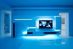 Renovated white apartment with futuristic interior design Tv Unit Interior Design, Tv Wall Design, Ceiling Design, Futuristic Interior, Futuristic Furniture, Futuristic Design, Studios Architecture, Architecture Design, Minimalist Architecture