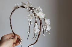 Flower Cascade Crown, Wedding Tiara, wedding accessories, bridal flower,  White whimsical wedding - MORA-. $60.00, via Etsy.