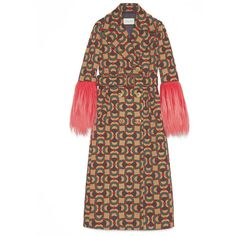 Gucci Horsebit Jacquard Wool Coat (€4.175) ❤ liked on Polyvore featuring outerwear, coats, belted coat, woolen coat, gucci coat, patterned wool coat and print coat