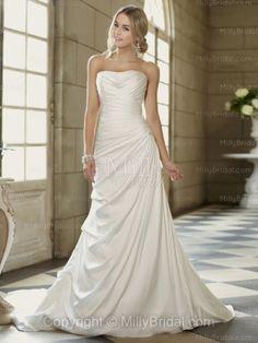 Sheath/Column Strapless Chiffon Sweep Train White Ruffles Wedding Dresses