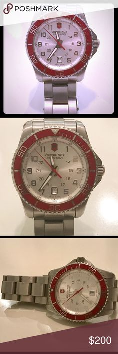 Victorinox Swiss Army Maverick watch ❤️ Men's Maverick watch silver quartz analog chronograph watch, with a tachymeter scale. previously owned. Needs new batteries. Does not come with a box. Victorinox Accessories Watches