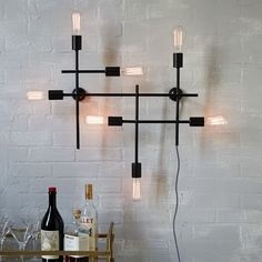 Front Entrance $249 - has plug in cord :(  Industrial Grid Wall Sconce | West Elm