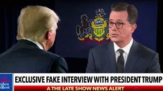 9:48 AM PDT 10/13/2017  by   Lexy Perez       The late-night host inserts himself into the Fox News host's recent sit-down with the president.  In a sketch during Thursday night's Late Show, Stephen Colbert poked fun at President Trump's recent interview with Sean Hannity, re-cutting...