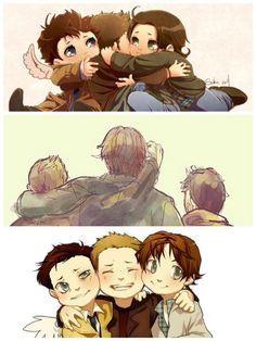 Team Free Will. BFFs. Supernatural fanart #Dean #Sam #Cas