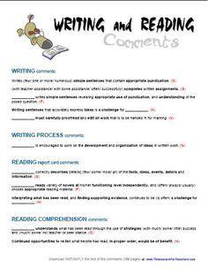 grade 5 language report card comments