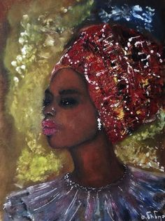 #Art #OilPainting #AfricanWoman #African #Illustration #Drawing #Painting #Oil #CardBoard