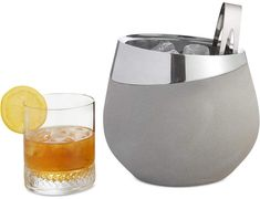 Alloy + Concrete Cocktail Ice Bucket and Tongs, two-piece set #barware #homegoods #entertaining #ad