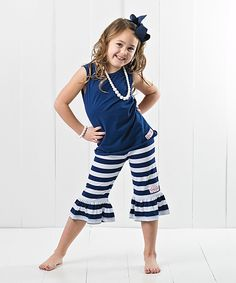 Look what I found on #zulily! Ruffle Girl Navy Tank & Ruffle Capri Pants Set - Toddler & Girls by Ruffle Girl #zulilyfinds