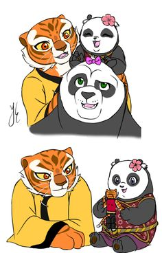 I love how with every movie tigress seems a little happier. Must be po and this little angel's influence Tigress Kung Fu Panda, Po And Tigress, Dreamworks Animation, Disney And Dreamworks, Adult Cartoons, Disney Cartoons, Panda Art, Cool Dragons, Nerd Art