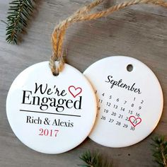 """Personalize the heartwarming """"We're Engaged"""" Christmas Ornament to celebrate one of life's great moments! This keepsake is made just for … Diy Engagement Gifts, Engagement Ornaments, Engagement Presents, Engagement Decorations, Engagement Photos, Personalized Christmas Ornaments, Diy Christmas Ornaments, Christmas Blocks, Ornaments Ideas"""
