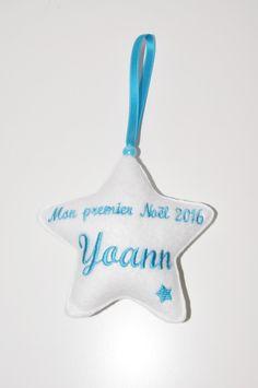 noël décoration boule de noël: 1 étoiles mon premier noel blanche personnalisée…