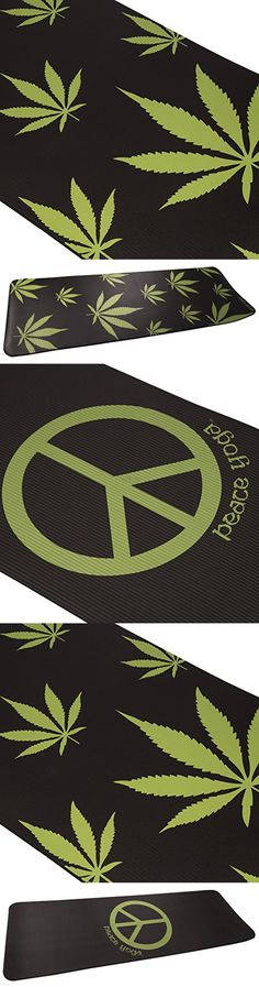 "Peace Yoga® 1/2"" Yoga Pilates Exercise Mat w/ Herb Weed Design - Black Mat"
