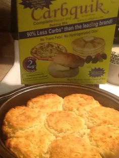 """Carbquick """"7Up"""" Biscuits: Low Carb! Best low carb biscuits! Taste like the real thing!         2 cups carbquick 1/2 teas. baking powder 1/2 cup sour cream 1/2 cup seltzer or sparkling water 1tablespoon Truvia or other granulated sweetener 1/4 cup melted butter  Preheat oven to 450 Place butter in 9inch pan to melt while oven is preheating. Sprinkle some carbquick on board. Pat out dough to 1/2 in. Thickness. Cut with biscuit cutter or glass. Place biscuits in pan with melted butter. Bake   1"""