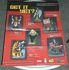 RARE MARVEL MERCHANDISE POSTER:CAPTAIN AMERICA/FANTASTIC FOUR/X-MEN/CRY FOR DAWN: Here's 1 of our many rare MARVEL & DC COMICS MERCHANDISE PROMOTIONAL POSTERS that were never for sale to the public! Each Previews promo poster shows items like Bowen busts, statues, action figures, tv & movie items, toy cars, model kits, maquettes, mini-mates, and MORE! $40.00