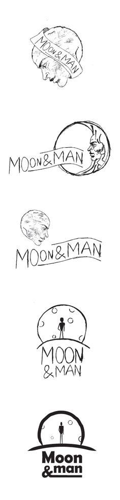 Logo sketches Moon and man