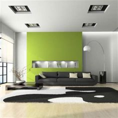 Green Living Room... This sparked a neat idea for our LR... White walls and fireplace a brilliant color... Hmmm... I like :)