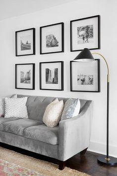 Black and white photo grid gallery wall. Black and white travel photos in black . - Black and white photo grid gallery wall. Black and white travel photos in black IKEA frames. White Photo Frames, Black And White Photo Wall, Black And White Frames, Black White, Black Picture Frames, Picture Wall Living Room, Living Room Gallery Wall, Living Room Pictures, Living Room Designs