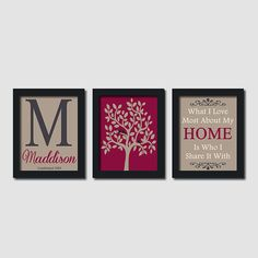 Custom Family Monogram Love Bird Tree Quote by LovelyFaceDesigns, $29.00