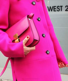 "Rainbow Bright Colors / karen cox. Brights in street style...wonder if ""hot"" pink keeps you warmer...:)"