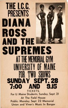 1969 Diana Ross & The Supremes Concert Poster (University of Maine, Bangor)