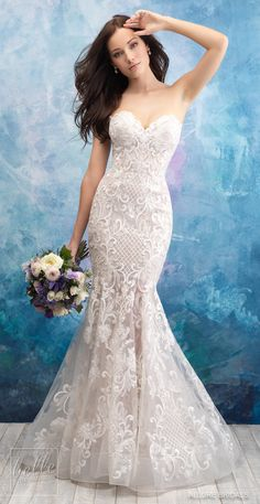 Allure 9560 alternating patterns and embroidery make this strapless fit and flare sweetheart bridal gown a bride's romantic dream dress. For pricing contact one of our bridal salons Del Mar or Fresno Aqua Bridesmaid Dresses, Bridal Wedding Dresses, Lace Wedding, Zulu Wedding, Wedding Venues, Bridal Cape, Party Wedding, Elegant Wedding, Wedding Reception