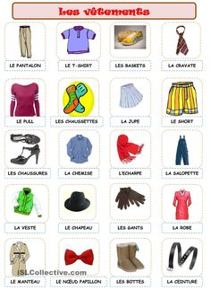 Les vêtements French Kids, French Class, French Lessons, How To Speak French, Learn French, Learning People, French Worksheets, French Outfit, French Expressions