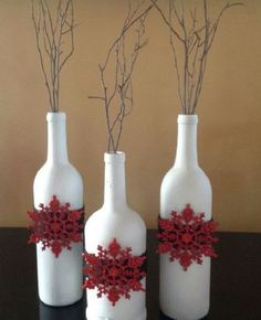 christmas decorated wine bottles decorate wine bottles painted wine bottles wine bottle art