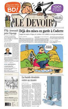 Le journal Le Devoir souligne la nouvelle exposition consacrée à la bande dessinée au Musée des Beaux-Arts de Montréal avec son édition du jour. Toutes les illustrations sont dessinées à la main!  #Quebec #BD #Presse