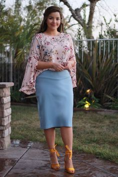 Our newest #Pinklabel item has arrived! Our Siena pencil skirt is available in 4 colors, powder blue, coral, black and pink (beige coming soon). S-3X