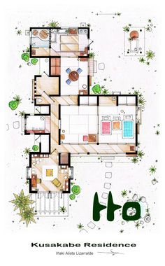 """This floorplan is an adaptation of the (temporal) residence of the Kusakabe family featured in the 1988 film """"My neighbour Totoro"""" by Hayao Miyazaki. Kusakabe Residence from 'Tonari no Totoro' film Film Home, Home Tv, My Home Design, House Design, Planer Layout, Traditional Japanese House, Japanese Modern House, Floor Plan Drawing, Drawing Drawing"""