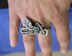 "Until Death, Inc. ""Two Finger Harley Ring"" Huge .925 Sterling Silver Biker Skull Ring."